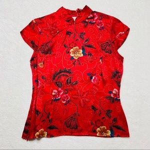 New York City Design Co Blouse Silk Red Asian S